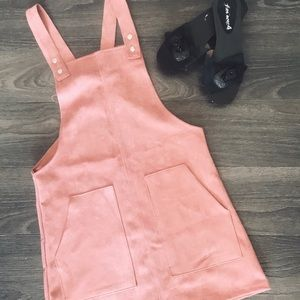 Forever 21 Blushing Pink Suede Overalls Dress